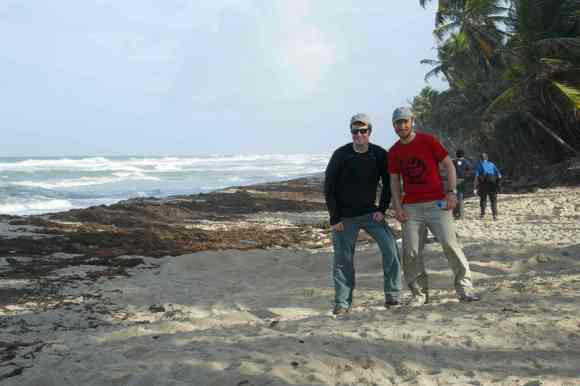 Canadian sea turtle team on the beach! Dr. Mike James and Devan Archibald at Matura in the late afternoon.